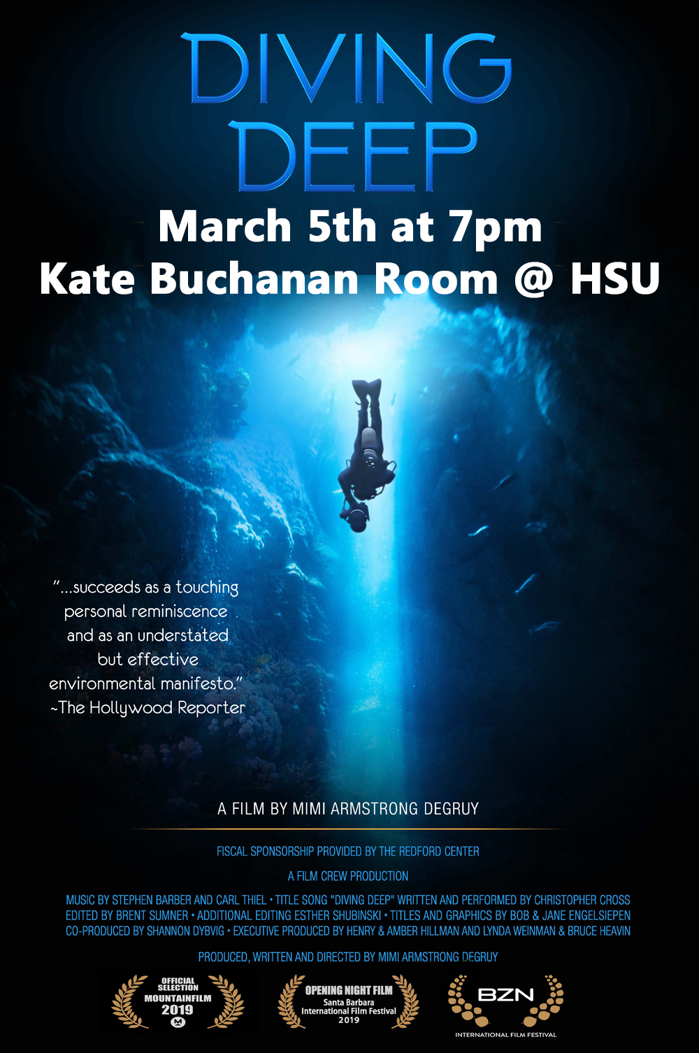 Diving Deep at HSU – March 5th @ 7pm